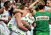 Players of Gambrinus Sika Brno celebrating after winning the EuroLeague Women 2006